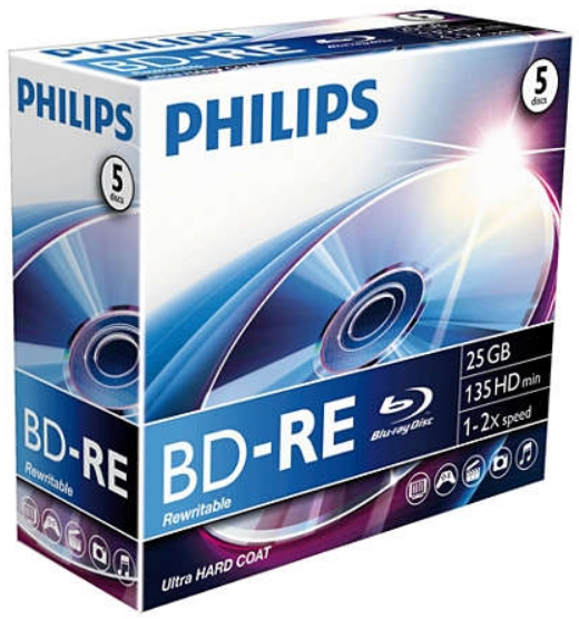 Philips - Média BD - Philips 2x Blu-ray disc 25GB BE2S2J05C/00 BD-RE